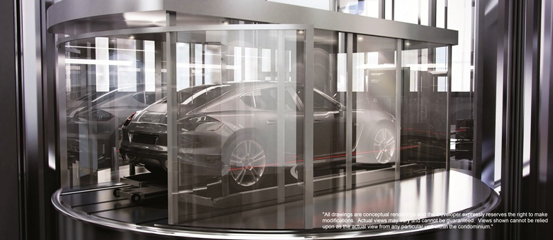 "A noteworthy feature of Porsche Design Tower is its automobile lift system that allows owners to park their cars next to their units regardless of the floor. Porsche Design Tower will also include a ""car concierge"" who will look after the resident's vehicles by coordinating detailing, cleaning, tire rotation and other maintenance services."