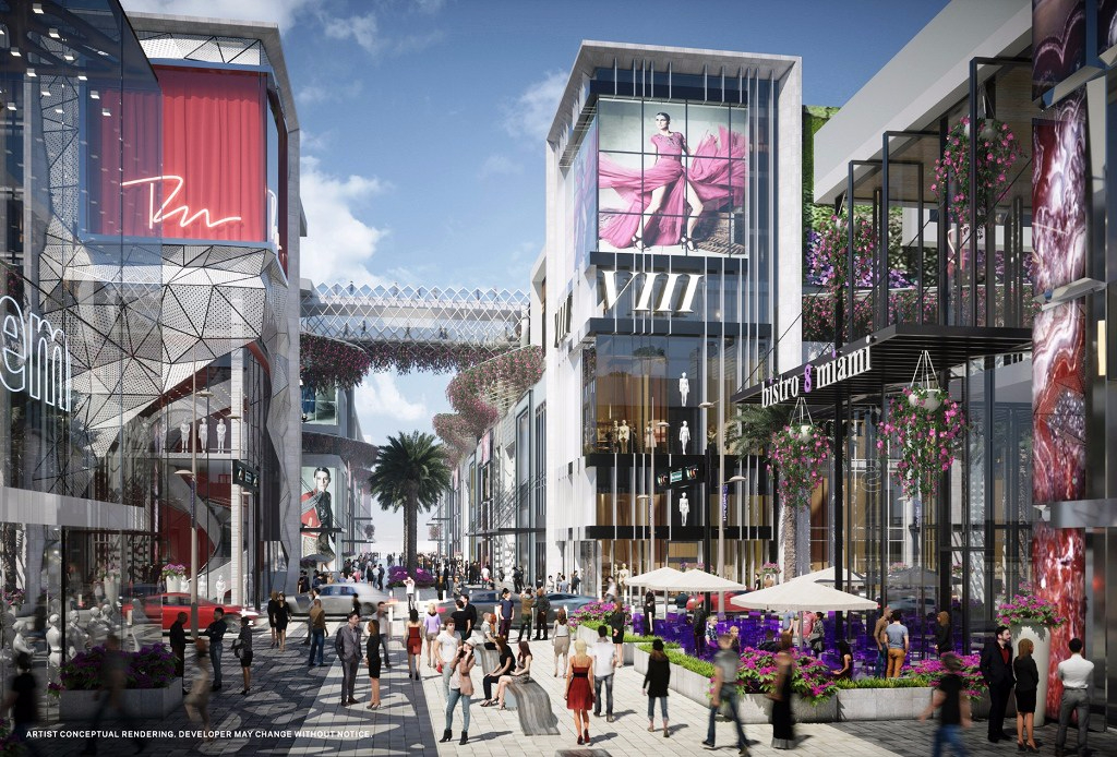 Miami Worldcenter will feature high street retail, an open air model with individual stores on a pedestrian-friendly street grid.